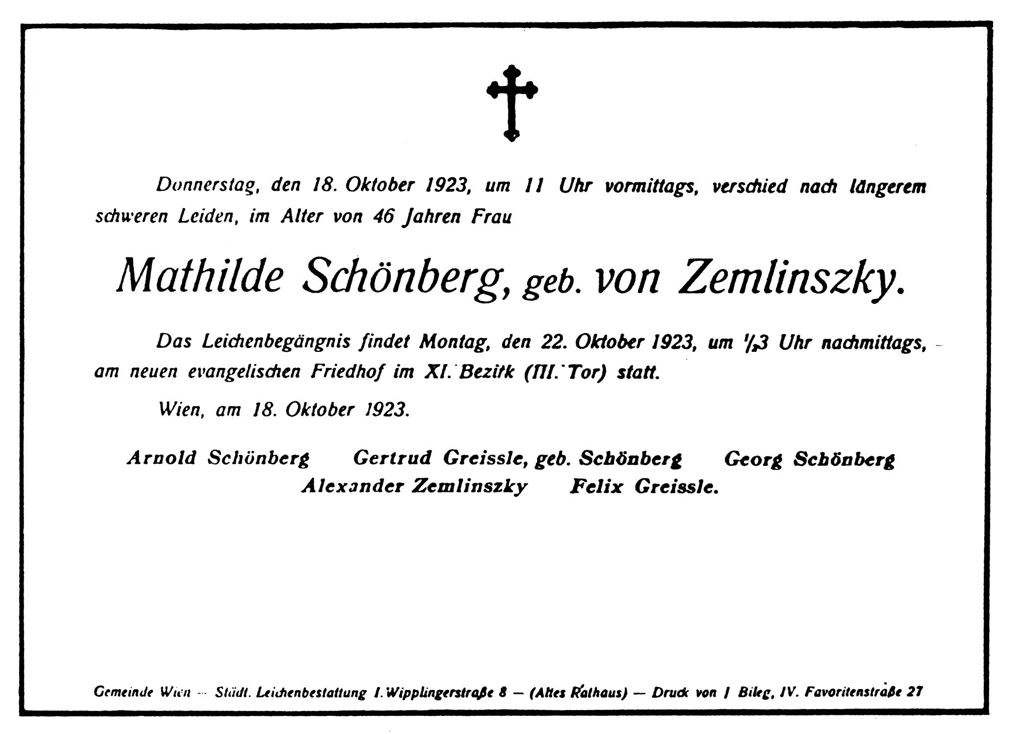 schnbergs frau mathilde stirbt am 18 oktober 1923 - Alexander Der Groe Lebenslauf